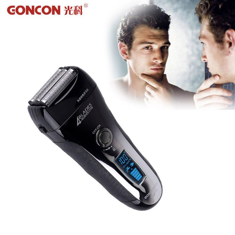 LCD Display Electric Shaver Men Washable Rechargeable 4 Blade Electric Shaving Razor Trimmer Machine Quick Charge Barbeador3436 rechargeable reciprocating blade shaver professional electric shaver sideburns trimmer moustache razor barbeador machine face378