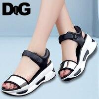 DQG 2018 Summer Women Shoes Sandals Black Wedge Casual Platform Sandalias Mujer Zapatos Chaussures Femme Sandalia