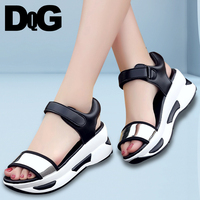 DQG 2018 Summer Women Shoes Sandals Black Wedge Casual Platform Sandalias Mujer Zapatos Chaussures Femme Sandalia