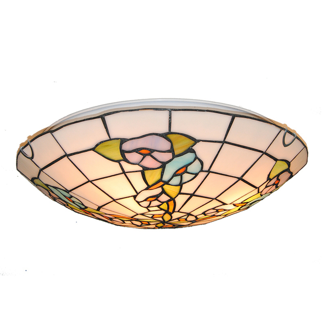 Tiffany Baroque Style Flower Pattern Flush Mount Ceiling Lights 16 Inch Vintage Stained Glass Dining Room