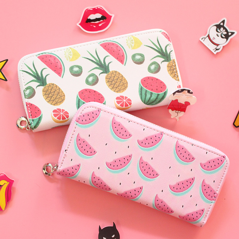 Women's Fashion PU Leather Long Wallets Fruit Printing Student Wallets ID Card Holder Coin Purse With Zipper Standard Wallets wallets