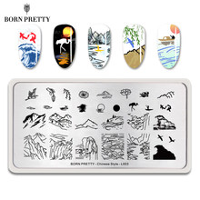 BORN PRETTY Chinese Style Nail Stamping Plate Landscape Drawing Rectangle Template Nail Art Image Stamp Stencil(China)