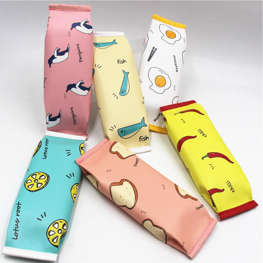 Snacks Bag Shape Large Capacity PU Pencil Case For Student Stationery Storage