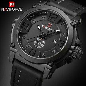 Image 1 - NAVIFORCE Herren Uhren Top Brand Luxus Sport Quarz Uhr Lederband Uhr Männer Wasserdichte Armbanduhr relogio masculino 9099