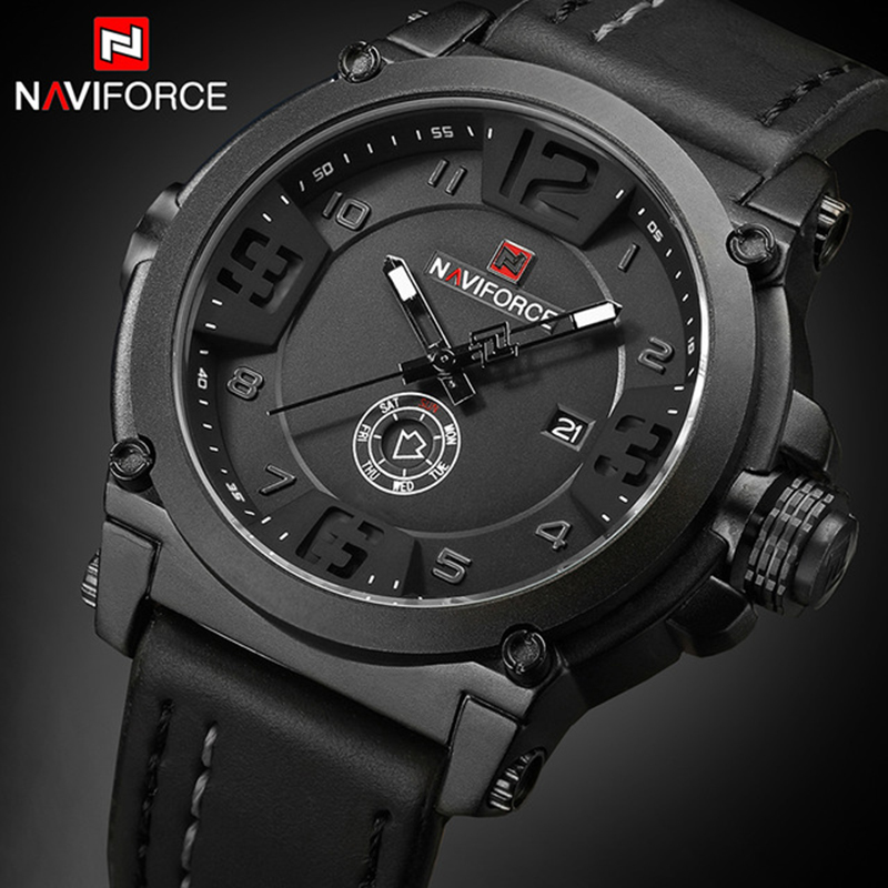 NAVIFORCE Mens Watches Top Brand Luxury Sport Quartz-Watch Leather Strap Clock Men Waterproof Wristwatch relogio masculino 9099 mens watches top brand luxury sport quartz watch dom m 132 leather strap clock men waterproof wristwatch relogio masculino