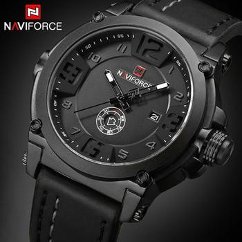 NAVIFORCE Mens Watches Top Brand Luxury Sport Quartz-Watch Leather Strap Clock Men Waterproof Wristwatch relogio masculino 9099 Мотоцикл