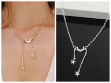 Fashion New Personality Womens Moon Pentagram Necklace Wholesale Women  Nameplate