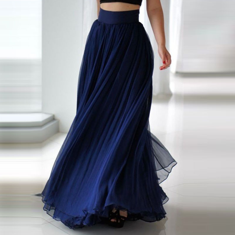 Popular Royal Long Chiffon Skirt-Buy Cheap Royal Long Chiffon ...