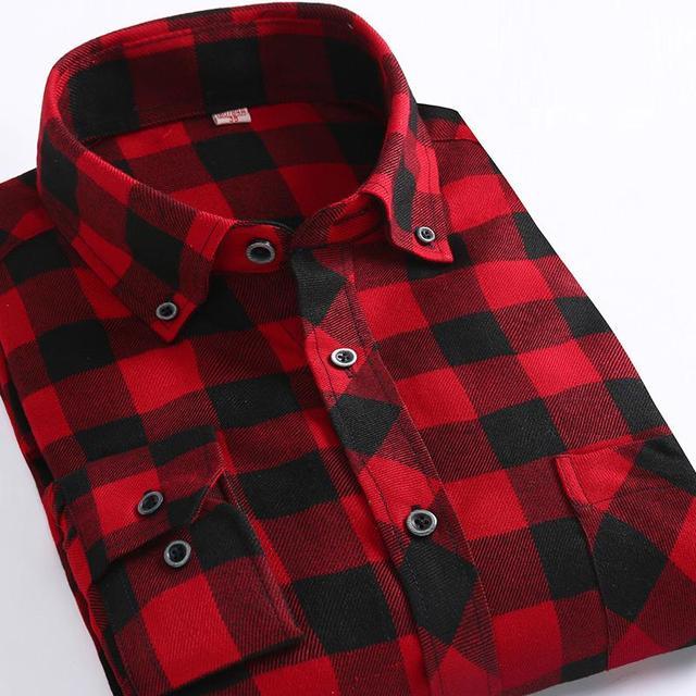 Red Plaid Franela Lijar Camisas de Los Hombres de Moda de Manga Larga de Otoño Camisas de Los Hombres de Calidad Superior de Los Hombres Camisa de Vestir de Negocios Camisas Casuales