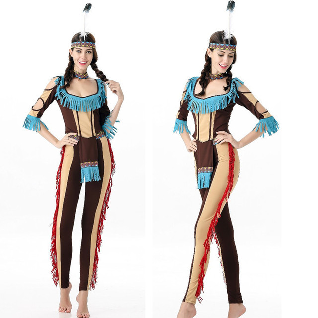 2259bed1bec Women Sexy Halloween Indians Cosplay Costume Carnival Party Fancy Dress  Women India Dance Costumes American Indian