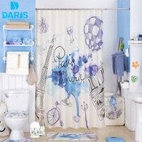 DARIS Bathroom Shower Curtain 180x180cm Plastic Bathroom Set PVC Bath Mat Combination Favorable Set Bathroom Products