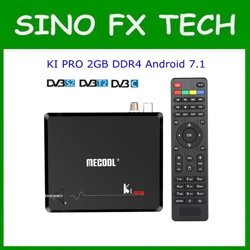 MECOOL KI Pro Android 7.1 DVB S2+DVB T2/C TV Box Amlogic S905D Quad core DDR4 2GB 16GB 2.4G/5G WiFi H.265 UHD 4K Media Player android 5 1 dvb t2 dvb s2 satellite tv receiver combo kodi 5g wifi bluetooth 4 0 digital cccam newcam pro uhd 4k h 265 2gb ram