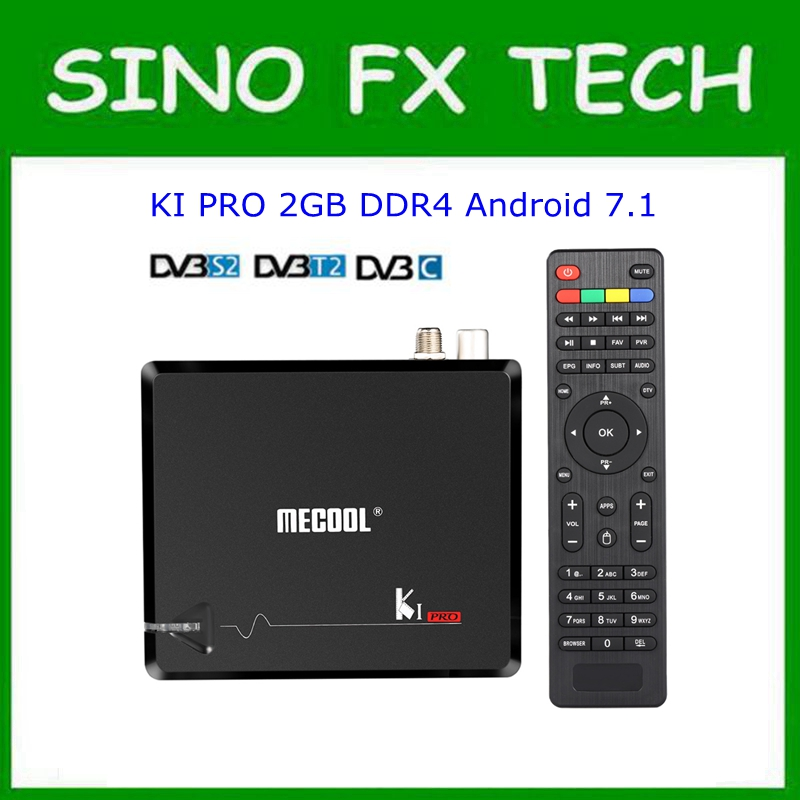 MECOOL KI Pro Android 7.1 DVB S2 + DVB T2/C TV Box Amlogic S905D Quad core DDR4 2 GB 16 GB 2,4G/5G WiFi H.265 UHD 4 Karat Media Player