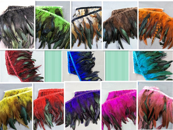 Wholesale perfect  50 yards high quality natural Turkey feathers ribbon 6-7inch/15-18cm Clothing Accessories stage performance
