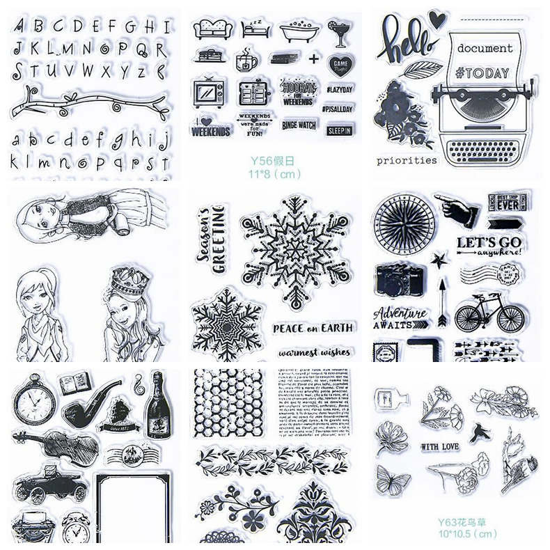 New Scrapbook DIY Photo Album Cards Transparent Acrylic Silicone Rubber Clear Stamps wyf1017 scrapbook diy photo album cards transparent silicone rubber clear stamp 11x16cm camera