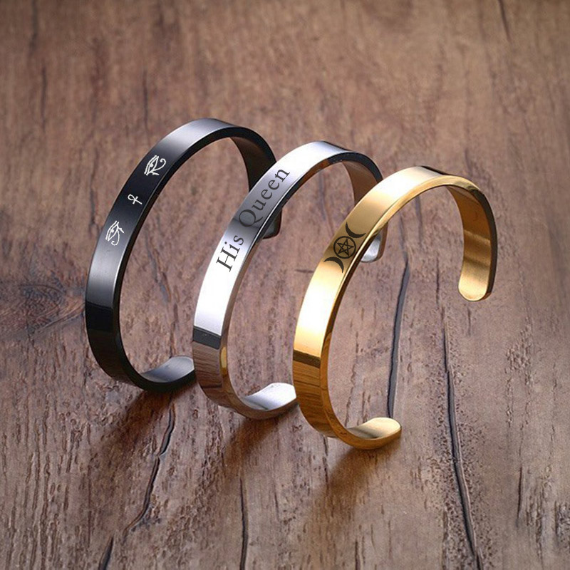 Vnox Free Engraving Cuff Bangle Stainless Steel Bracelet Personalize Name Logo His Queen Bestfriend Gift whisper his name