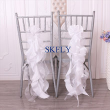SH097K New custom made cheap free delivery wedding white curly willow organza and taffeta chair sashes(China)
