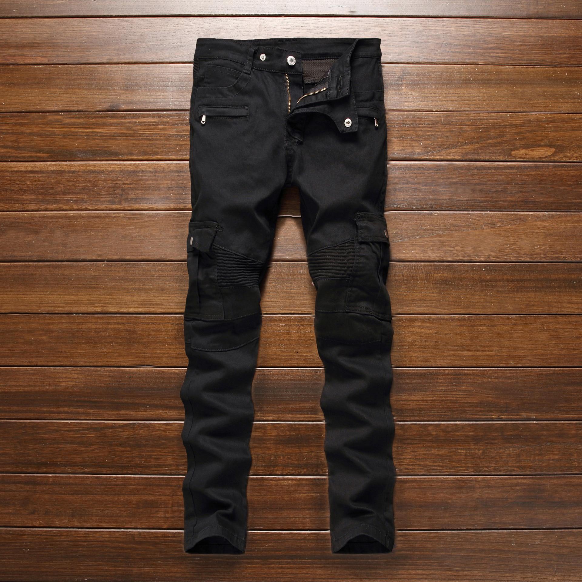 ФОТО Fashion Men's Designer Pattern Black Jeans Men Casual Straight Slim Fit Biker Jeans Denim Pants 5009