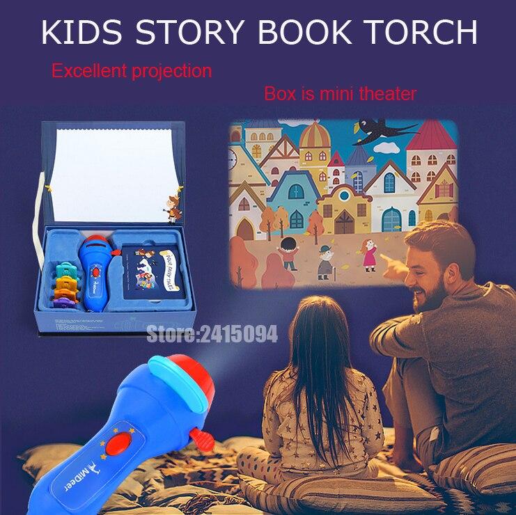 Mini proyector antorcha educativo luz-up juguetes niños linterna historia libro Sueño luz proyección lámpara led cuento de hadas ejecutar conjunto