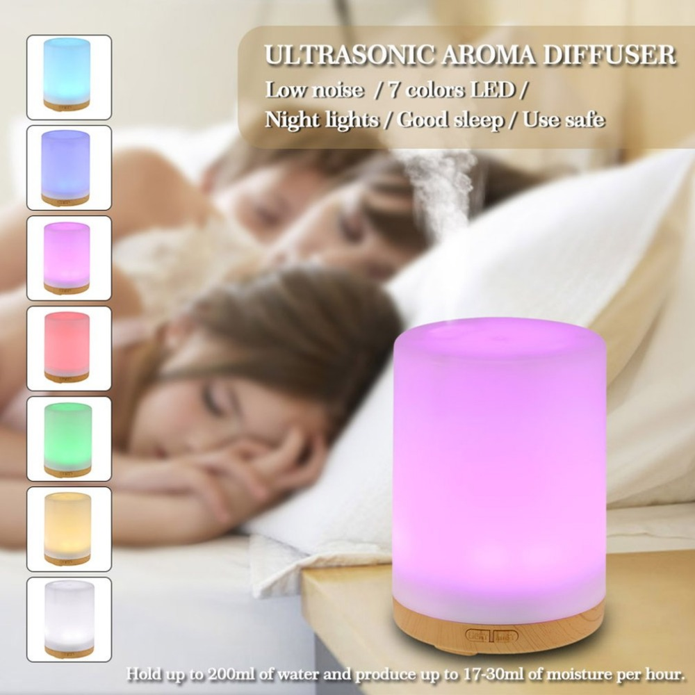 200ML  100ML 7 Colorful LED Lights Air Humidifier USB Essential Oil Air Aromatherapy Diffuser Mist Purifier for Car Home EU US