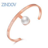 Zindov Stainless Steel Bracelet PVD Gold Rose Gold Tone Simulated Pearl Engraving Love Forever Women Cuff