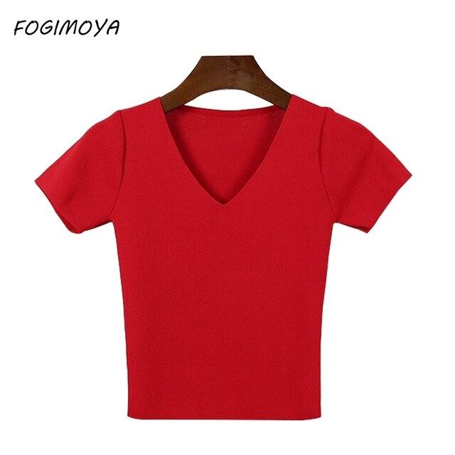 Fogimoya футболка весна Для женщин короткий рукав Топ трикотажные рубашки короткий свитер Топы корректирующие пуловер летние пикантные Bodycon V Средства ухода за кожей Шеи Топ новый