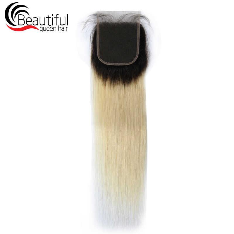 Красивые queen 4X4 Омбре, с темными корнями 1B/613 синтетическое закрытие шнурка волос прямые 100% человеческие волосы предварительно сорвал отбеленные узлы