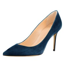 Dames Pumps Zwart New Women Pumps Sexy Pointed Toe Thin High Heels Shoes Suede Leather Stiletto Heels Brand Women Shoes D038A qianruiti hot sale faux suede thin heels women shoes sexy pointed toe women pumps red blue fox fur pom poms high heels shoes