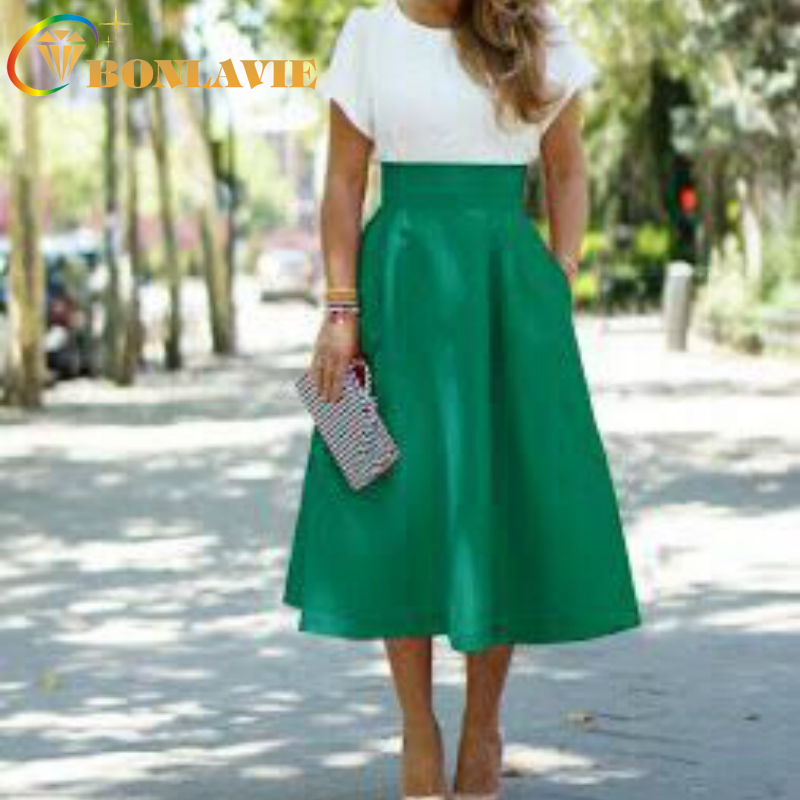 Women Color Loose Type Sweet Style Mid Length Size S To XL Red Black Green Blue Skirt Solid Pocket Ball Gown Skirt Empire Waist
