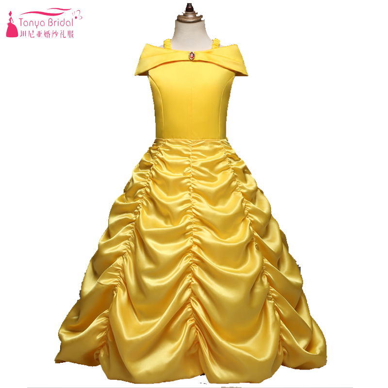 Yellow Flower Girls Dress For Wedding Party Kids Lovely Birthday Formal Gowns ZF088