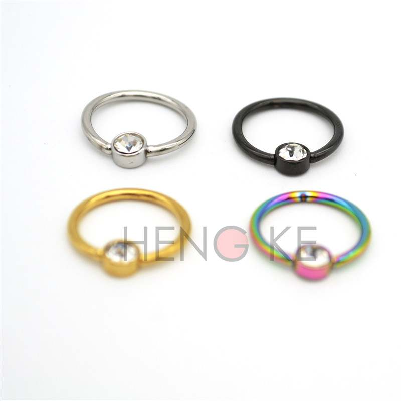 Crystal Clear Bcr Ring Frenulum Titanium Flat Back Disc Hoop Nose