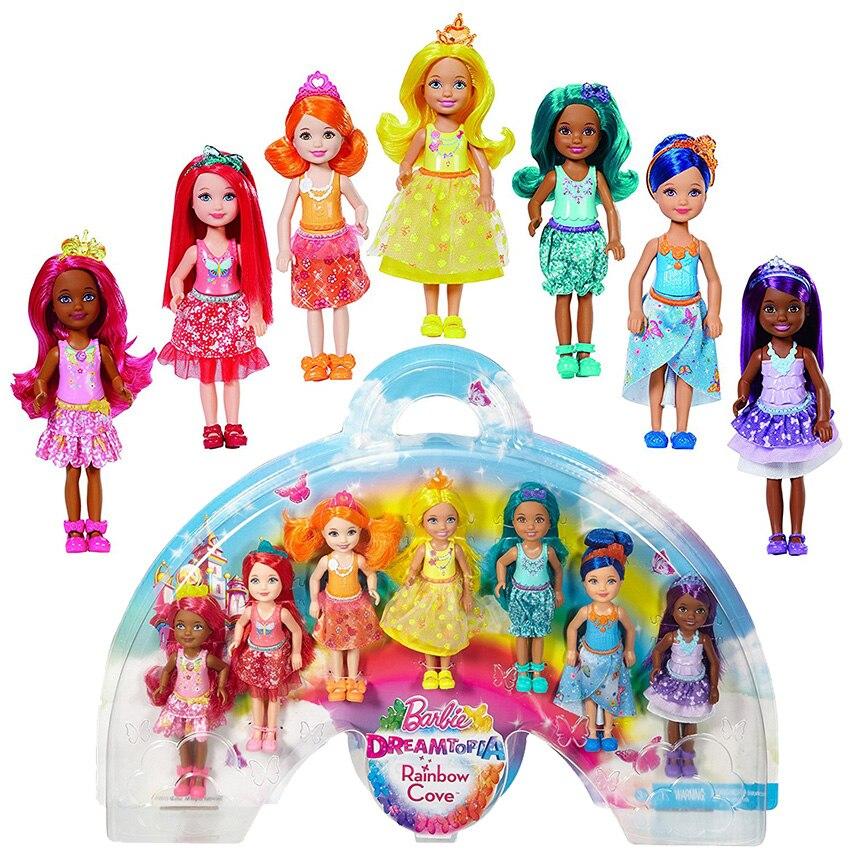 Оригинальный Барби Dreamtopia Rainbow Cove 7 Кукла Подарочный набор девочка игрушка аксессуары день рождения новый год подарок коробка