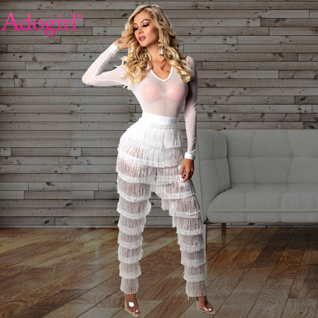 66505d04c3 Adogirl Cascading Tassel Sheer Mesh Jumpsuit Solid White Women Sexy V Neck  Long Sleeve Romper Night Club Party Overalls Outfits
