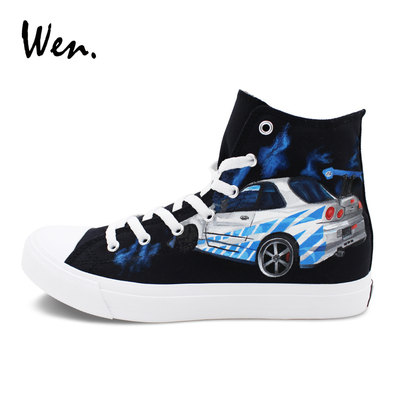Wen Canvas Shoes Black High Top Custom Design Fast & Furious Hand Painted Shoes Mens Womens Athletic Canvas Sneakers wen design custom hand painted anime shoes bleach high top black women men s canvas sneakers adult boys girls athletic shoes