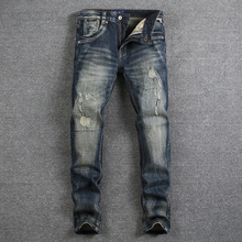 Retro Design Fashion Mens Jeans High Quality Nostalgia Wash Slim Fit Denim Ripped Jeans For Men Brand Streetwear Biker Jeans