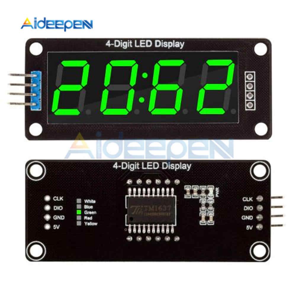 "TM1637 4-Digit LED 0.56 ""0.56 Inch 7 Segmen Tabung Tampilan Jam Double Dots Modul Layar LED Hijau MODUL UNTUK ARDUINO"