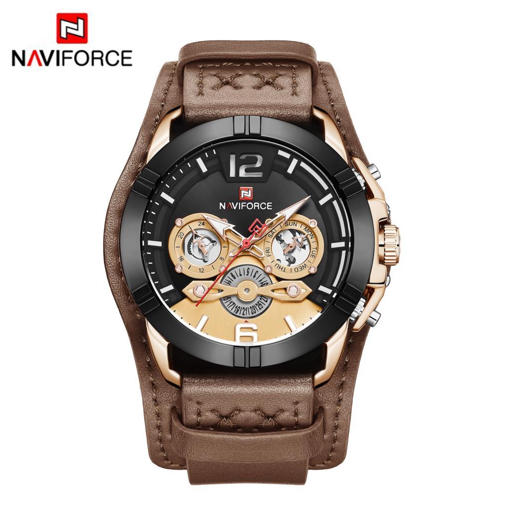NAVIFORCE Men Watch Fashion Male Leather Quartz Watches Mens Luxury Brand 30M Waterproof Sport Clock Relogio Masculino Brown New analog watch