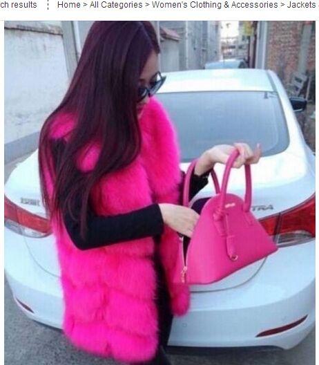 Высококачественная меховая жилетка, роскошное пальто из искусственного лисьего меха, теплое Женское пальто, жилетки, Зимняя мода, меховые женские пальто, куртка, жилетка, жилет, 4XL - Цвет: rose