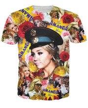 Women Men 3D Amanda Bynes All Over Print Paparazzi T Shirt Summer Short Sleeve Tops TEE