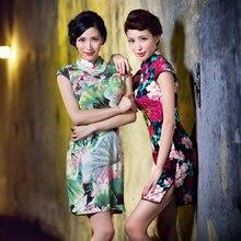2018 Spring Summer Slim Retro Traditional Chinese Clothing Oriental Dress Patterns Vestido Oriental Chines Cheongsam Qipao Dress