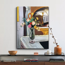 Vintage la cama en el espejo flor lienzo pinturas al óleo cartel maestro impresiones DIY marco de madera pared arte fotos hogar decoración