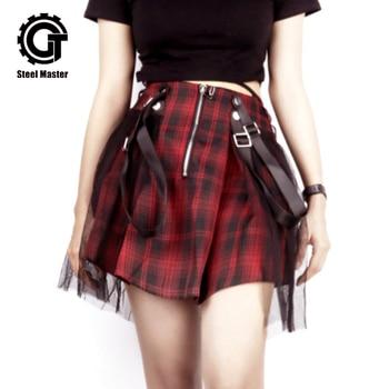 2019 Spring And Summer Bud Silk Gauze Skirt Plaid Wind High Waist Pleated Puff Mini Mesh Skirts Womens