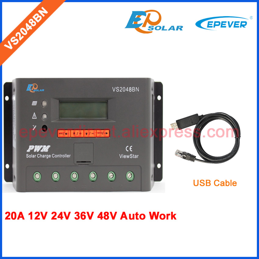VS2048BN 12V 24V 36V 48V Auto Work solar charger controller EPEVER regulator LCD display with USB communication cable 20A ble box vs2048bn 20a 24v 48v work usb cable solar pwm 20amp charger controller epever communication cable connect pc