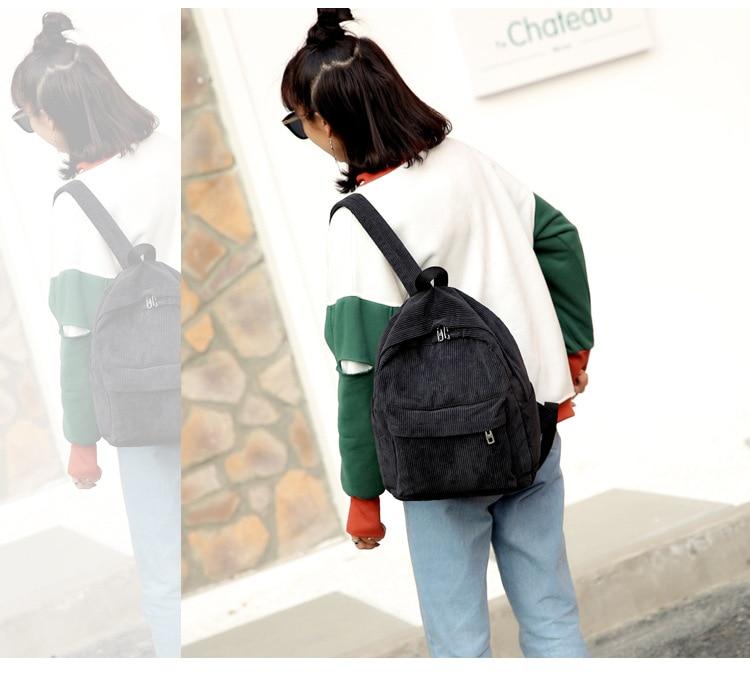 HTB1cv6HaMFY.1VjSZFnq6AFHXXa2 2019 New Corduroy Women Backpack Pure Color Women Travel Bag Fashion Double Backpack Female Mochila Bagpack Pack Design