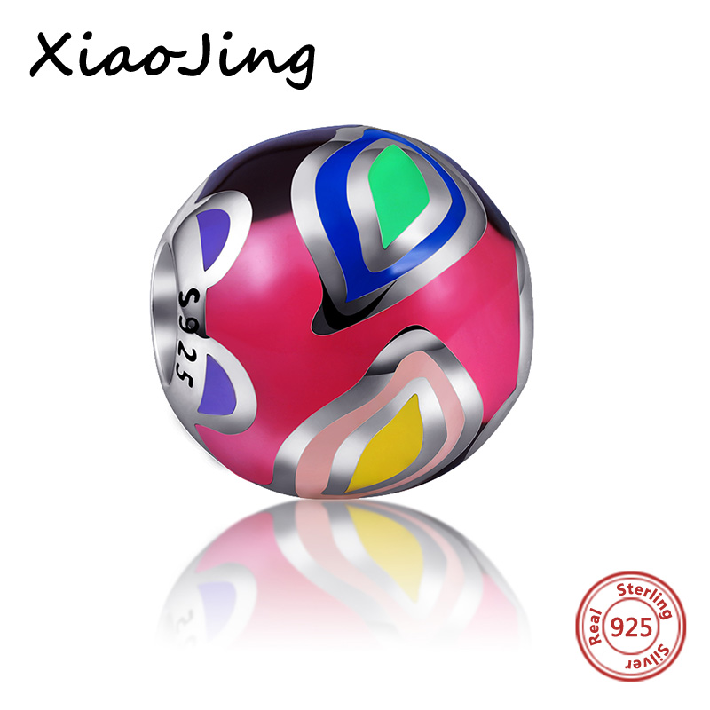 Charm Beads With Colours of the rainbow Polishing Enamel Fit Pandora charms Bracelets & Bangles 100% 925 Sterling Silver Jewelry