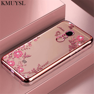 Luxury Plating Silicone Soft Case for xiaomi Mi A2 Lite 8 SE A1 5X 6 6X Redmi 5 Plus Note 7 5A Prime 4X 4 6A 6 Pro Flower Cover(China)