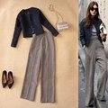 Europa e Nos Estados Unidos as mulheres inverno nova moda azul-lã jaqueta curta + cintura alta largura de perna calças de gordura terno