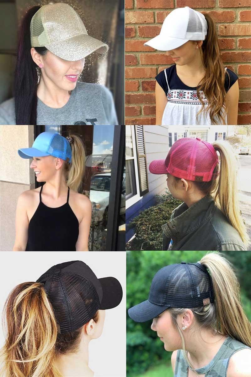 Composite Bats Glitter Ponytail Baseball Cap Women Messy Bun Snapback  Summer Mesh Hats 0623dbffa58