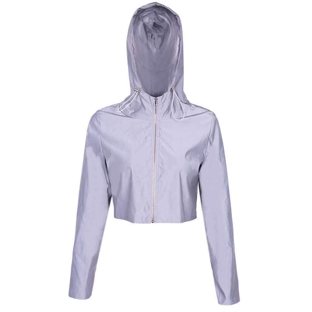 Женская Повседневное свитер с отражающими элементами с капюшоном шнурок шить Топ улица бег flash блузка куртка спортивный свитер