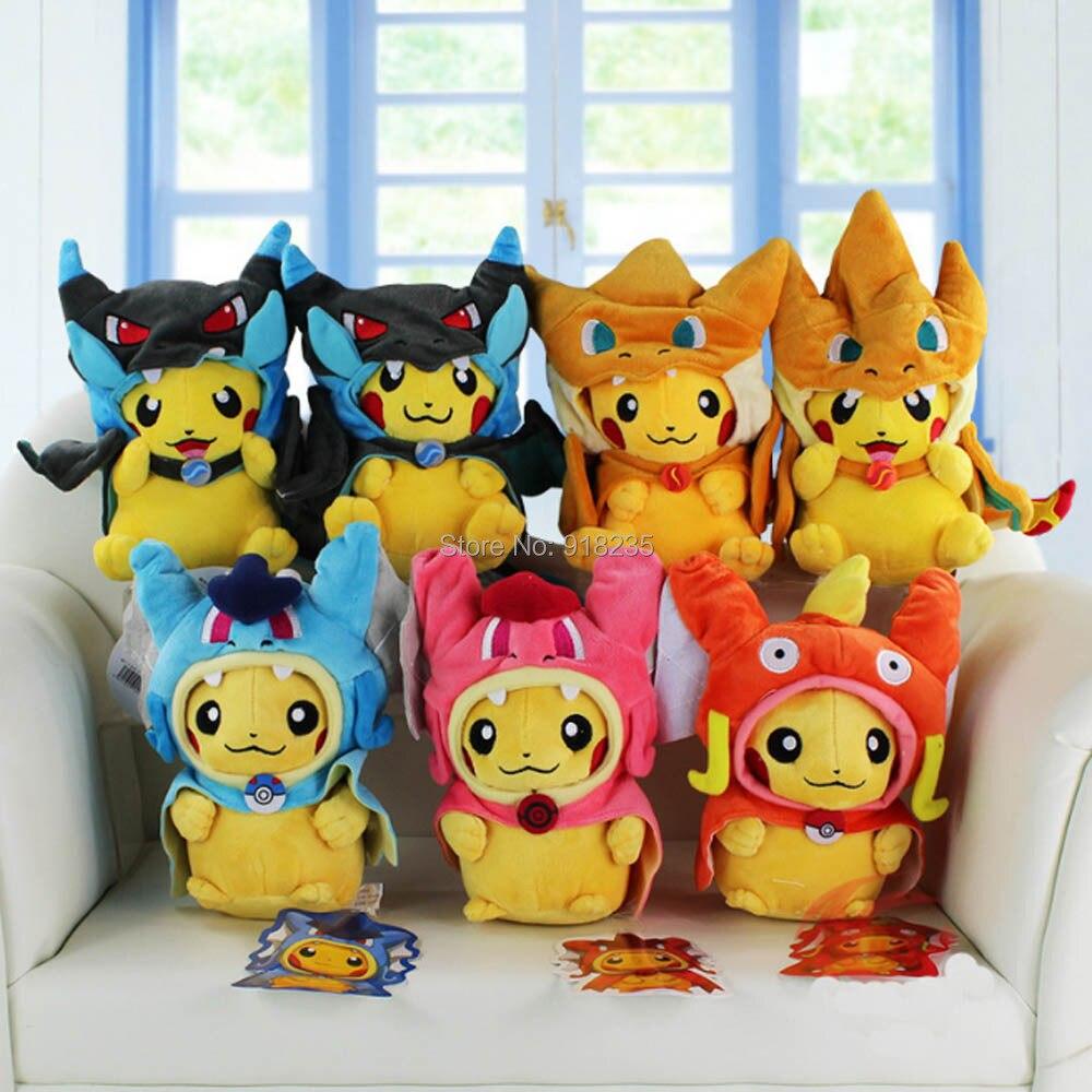 10/Lot 20 25 ซม.Pikachu คอสเพลย์ X Charizard Magikarp Brinquedo นุ่มตุ๊กตาสัตว์ตุ๊กตาตุ๊กตาแฟชั่นตุ๊กตาของเล่น-ใน ภาพยนตร์และทีวี จาก ของเล่นและงานอดิเรก บน   1